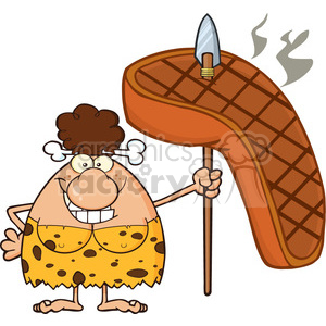 smiling brunette cave woman cartoon mascot character holding a spear with big grilled steak vector illustration