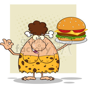 chef brunette cave woman cartoon mascot character holding a big burger and gesturing ok vector illustration clipart. Royalty-free image # 399187
