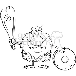 black and white happy male caveman cartoon mascot character holding a club and showing whell vector illustration clipart. Commercial use image # 399197