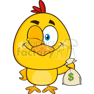 royalty free rf clipart illustration yellow chick cartoon character winking and holding a money bag vector illustration isolated on white clipart. Royalty-free image # 399227