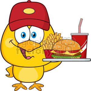 royalty free rf clipart illustration happy yellow chick cartoon character wearing a baseball cap and holding a fast food tray vector illustration isolated on white clipart. Commercial use image # 399237