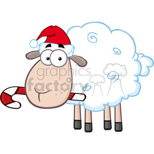 royalty free rf clipart illustration christmas sheep cartoon character vector illustration isolated on white clipart. Commercial use image # 399257
