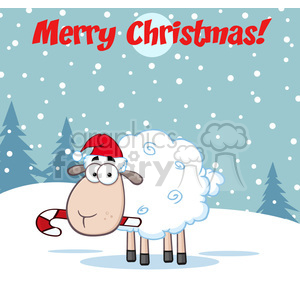 royalty free rf clipart illustration christmas sheep cartoon character vector illustration greeting card clipart. Royalty-free image # 399267