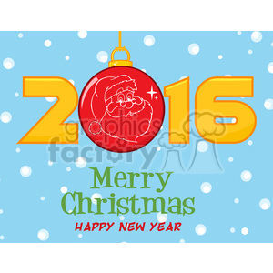 royalty free rf clipart illustration merry christma and happy new year greeting with christmas ball and golden nubers vector illustration greeting card clipart. Royalty-free image # 399277