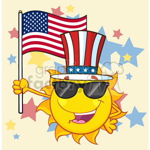royalty free rf clipart illustration cute sun cartoon mascot character with patriotic hat holding an american flag vector illustration background with stars clipart. Commercial use image # 399298