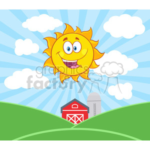 royalty free rf clipart illustration sunshine happy sun mascot cartoon character vector illustration with farm barn and silo fields background clipart. Royalty-free image # 399326