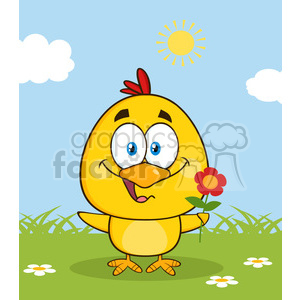 royalty free rf clipart illustration cute yellow chick cartoon character holding a flower vector illustration with bacground clipart. Commercial use image # 399336