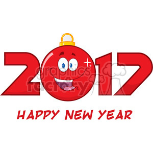 happy 2017 new years eve greeting with christmas ball cartoon character and numbers vector