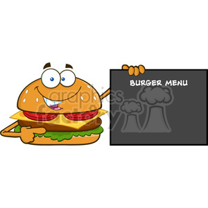 illustration funny burger cartoon mascot character pointing to a sign with text burger menu vector illustration isolated on white background clipart. Commercial use image # 399396