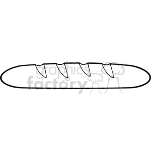 illustration black and white cartoon french bread baguette vector illustration isolated on white background clipart. Commercial use image # 399406