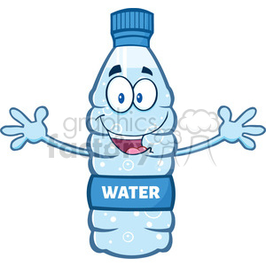 illustration cartoon ilustation of a water plastic bottle mascot character with open arms wanting a hug vector illustration isolated on white background clipart. Commercial use image # 399416