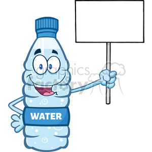 illustration cartoon ilustation of a water plastic bottle mascot character holding up a blank sign vector illustration isolated on white background clipart. Royalty-free image # 399457