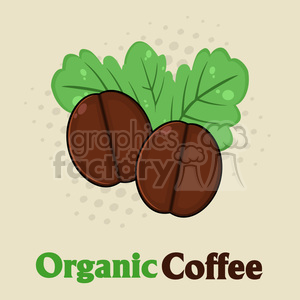 illustration organic roasted coffee beans cartoon vector illustration with text and background clipart. Commercial use image # 399477