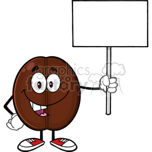 illustration happy coffee bean cartoon mascot character holding a blank sign vector illustration isolated on white clipart. Commercial use image # 399487