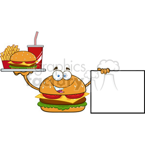 burger cartoon mascot character holding a platter with burger, french fries and soda by blank sign vector illustration isolated on white background clipart. Commercial use image # 399497