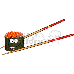cartoon food dinner sushi character japanese caviar