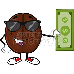 illustration coffee bean cartoon mascot character with sunglasses holding a dollar bill vector illustration isolated on white clipart. Commercial use image # 399547