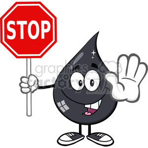 royalty free rf clipart illustration smiling petroleum or oil drop cartoon character holding a stop sign vector illustration isolated on white background clipart. Royalty-free image # 399557