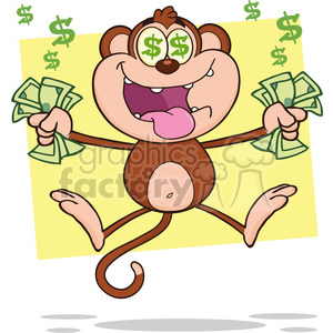 royalty free rf clipart illustration greedy monkey cartoon character jumping with cash money and dollar eyes vector illustration with bacground isolated on white clipart. Commercial use image # 399592