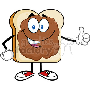 royalty free rf clipart illustration smiling bread slice cartoon character with peanut butter giving a thumb up vector illustration isolated on white background clipart. Royalty-free image # 399662