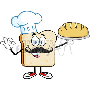 royalty free rf clipart illustration baker bread slice cartoon mascot character with chef hat and mustache holding a bread vector illustration isolated on white clipart. Royalty-free image # 399680