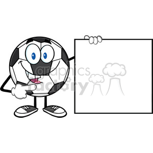 talking soccer ball cartoon mascot character pointing to a blank sign vector illustration isolated on white background clipart. Royalty-free image # 399710