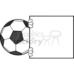 soccer ball faceless cartoon mascot character looking around a blank sign vector illustration isolated on white background clipart. Royalty-free image # 399730