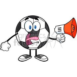soccer ball cartoon mascot character using a megaphone vector illustration isolated on white background clipart. Commercial use image # 399740