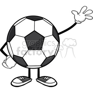 soccer ball faceless cartoon mascot character waving for greeting vector illustration isolated on white background