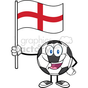 happy soccer ball cartoon mascot character holding a flag of england vector illustration isolated on white background clipart. Royalty-free image # 399770