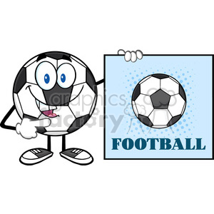 talking soccer ball cartoon mascot character pointing to a sign with text football vector illustration isolated on white background clipart. Royalty-free image # 399780
