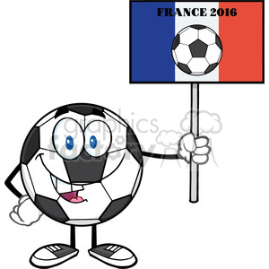 soccer ball cartoon mascot character holding a sign with france flag and text france 2016 year vector illustration isolated on white background clipart. Royalty-free image # 399790