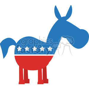 red white and blue democrat donkey vector illustration flat design style isolated on white clipart. Royalty-free image # 399820