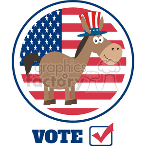 funny democrat donkey cartoon character with uncle sam hat over usa flag label vector illustration flat design style isolated on white clipart. Royalty-free image # 399830