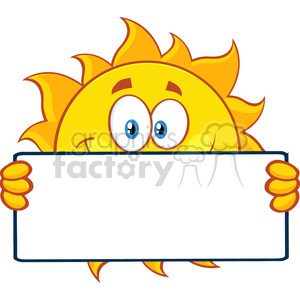 cute sun cartoon mascot character holding a blank sign vector illustration isolated on white background clipart. Royalty-free image # 399851
