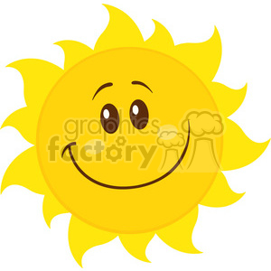 smiling yellow simple sun cartoon mascot character vector illustration isolated on white background clipart. Commercial use image # 399861