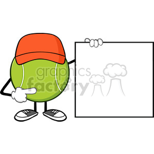 tennis ball faceless cartoon mascot character pointing to a blank sign banner vector illustration isolated on white background clipart. Royalty-free image # 399871