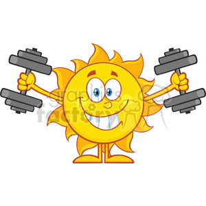 10119 smiling sun cartoon mascot character working out with dumbbells vector illustration isolated on white background clipart. Royalty-free image # 399891