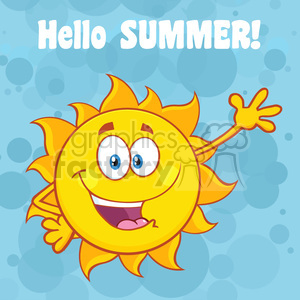 happy sun cartoon mascot character waving for greeting with text hello summer vector illustration with blue background clipart. Royalty-free image # 399911