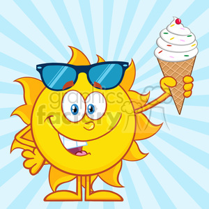 cute sun cartoon mascot character with sunglasses holding a ice cream vector illustration with blue sunburst background clipart. Royalty-free image # 399921