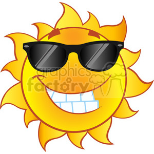 smiling summer sun cartoon mascot character with sunglasses in gradient vector illustration isolated on white background clipart. Royalty-free image # 399931