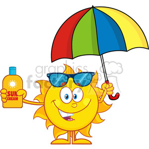 10151 cute sun cartoon mascot character holding a umbrella and bottle of sun block cream vith text vector illustration isolated on white background clipart. Royalty-free image # 399941