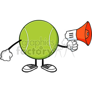 tennis ball faceless cartoon mascot character an announcement into a megaphone vector illustration isolated on white background clipart. Royalty-free image # 399951