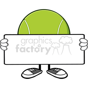 tennis ball faceless cartoon mascot character holding a blank sign vector illustration isolated on white background