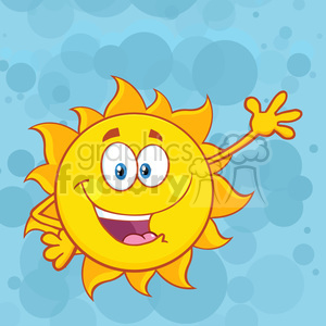 happy sun cartoon mascot character waving for greeting vector illustration over blue background clipart. Royalty-free image # 399971