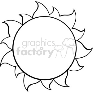 black and white simple sun vector illustration isolated on white background clipart. Royalty-free image # 399981