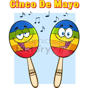 two colorful mexican maracas cartoon mascot characters singing vector illustration isolated on white background with notes and text cinco de mayo clipart. Royalty-free image # 399991
