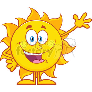 happy sun cartoon mascot character waving for greeting vector illustration isolated on white background clipart. Royalty-free image # 400001