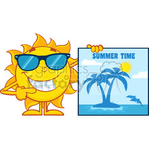 talking sun cartoon mascot character with sunglasses pointing to a poster sign with tropical island and text summer time vector illustration isolated on white background clipart. Royalty-free image # 400011