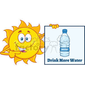 talking sun cartoon mascot character pointing to a sign with text drink more water vector illustration isolated on white background clipart. Commercial use image # 400031